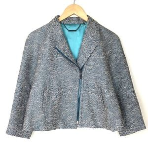 Elie Tahari Teal Cream Tweed Zip Motto Jacket- 8